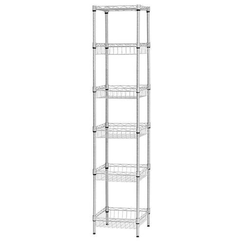 LANGRIA 6 Tier Wire Storage Rack with Baskets, Silver