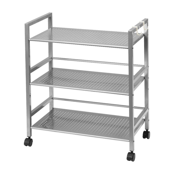 LANGRIA 3-Tier Wire Mesh Rolling Cart for Serving Utility Organization