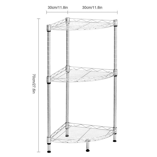 LANGRIA 3-Tier Wire Mesh Corner Shelf, Silver