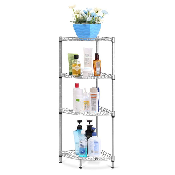 LANGRIA 4-Tier Wire Mesh Corner Shelf, Silver