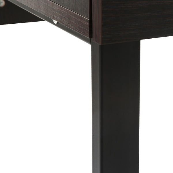 LANGRIA Modern Computer Desk with 2 Drawers, Black Walnut