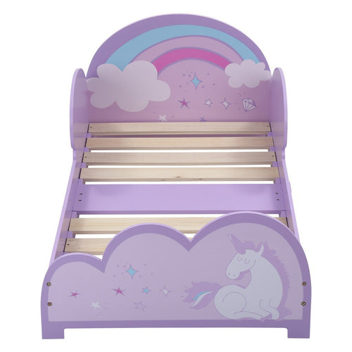 LANGRIA Toddler Unicorn-Themed Bed (Pink &  Violet)