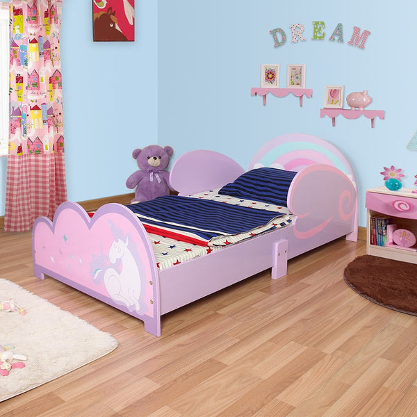 toddler unicorn themed bed pink violet langria. Black Bedroom Furniture Sets. Home Design Ideas