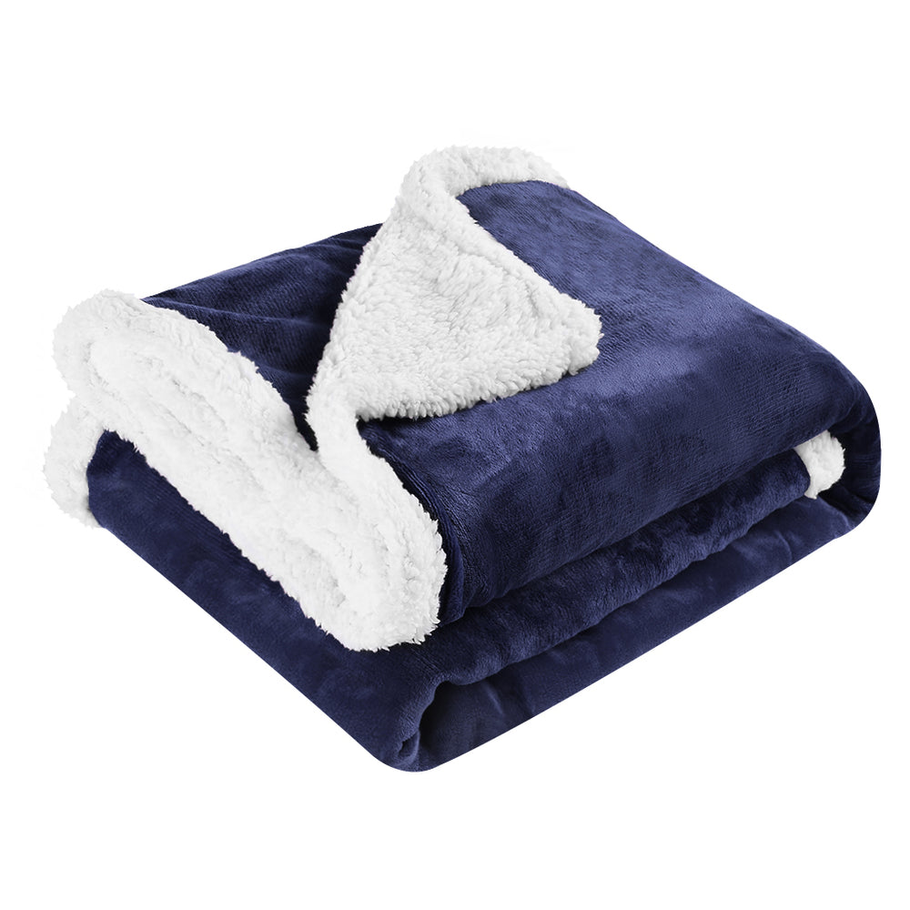Double-Sided Reversible Blanket, Super Soft Warm Stylish Luxury Flannel and Sherpa Microfiber Throw Blanket