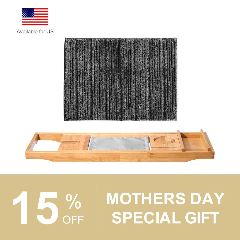 Pamper Mom Spa at Home Set] Bamboo Bathtub Tray + Memory Foam Bath ...