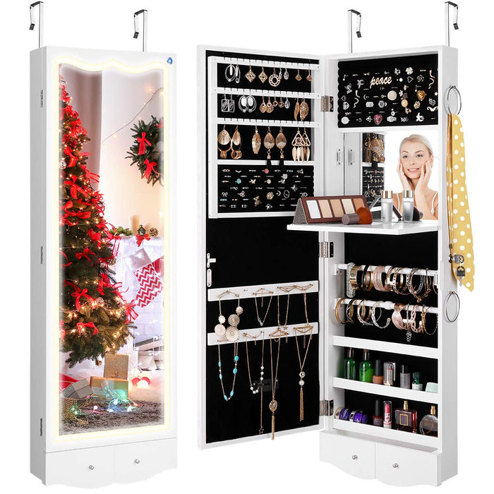 LANGRIA Lighted Mirror Jewelry Armoire, Stylish Design Full-Length Lockable Jewelry Cabinet