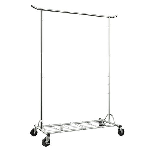 LANGRIA LANGRIA Heavy Duty Rolling Commercial Single Rail Clothing Garment Rack with Wheels Height Adjustable Collapsible Clothes Rack Max Load Capacity 143.5 lbs. for Bedroom Dressing Room Store (Chrome)