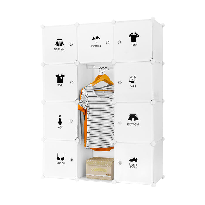 12-Cube DIY Interlocking Modular Shelving Storage Organizer Closet with Clothing Fashion Icon Stickers and Red Lip Stickers