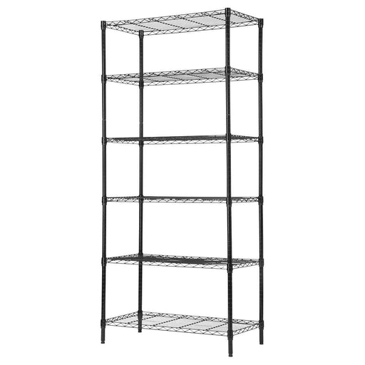 LANGRIA LANGRIA 6 Tier Garage Shelving Shelving Unit, Storage Rack Garage Shelf Heavy Duty Metal Shelves, Black