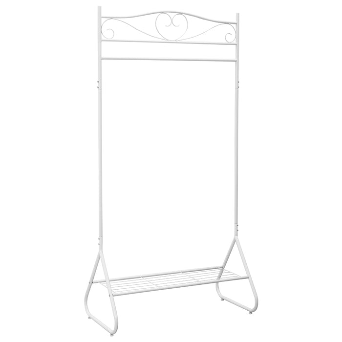 Free-Standing Single Rail Garment Rack with Bottom Shelf Made of Sturdy Iron with Spacious Storage Space