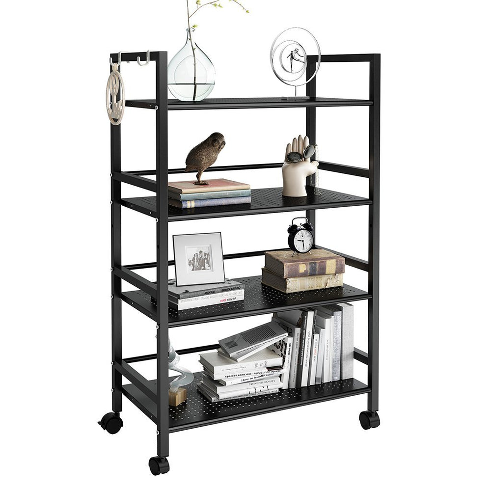 4-Tier Rolling Shelving Unit – Black | LANGRIA Metal Storage Cart with Casters