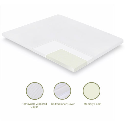 3 Inch Memory Foam Mattress Topper Mattress Pad with Removable Breathable Zippered White Cover, Queen