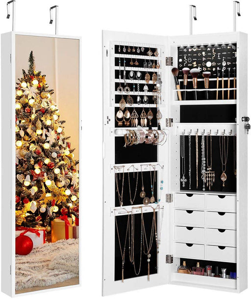 Full Length Mirror Jewelry Cabinet Organizer with 8 LED Lights, DIY Jewelry Armoire with Lockable Magnetic Door