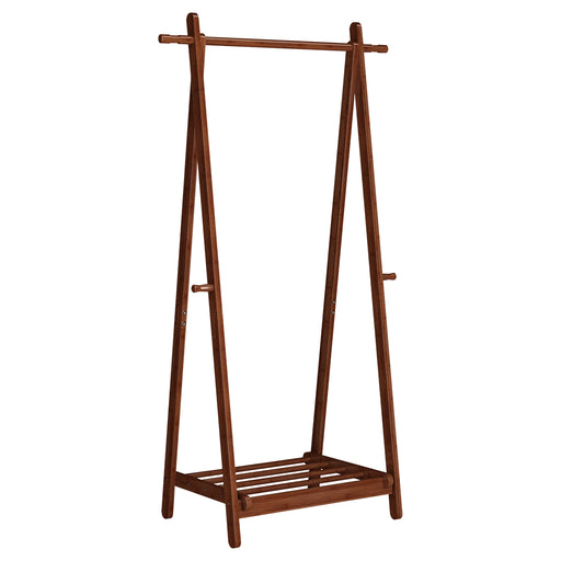 Foldable Bamboo Clothes Rack Stand With Vertical Hanging Rod Two Side Hooks