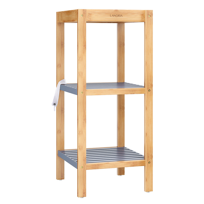 3-Tier Bamboo Shelf | Gray + Natural Bamboo