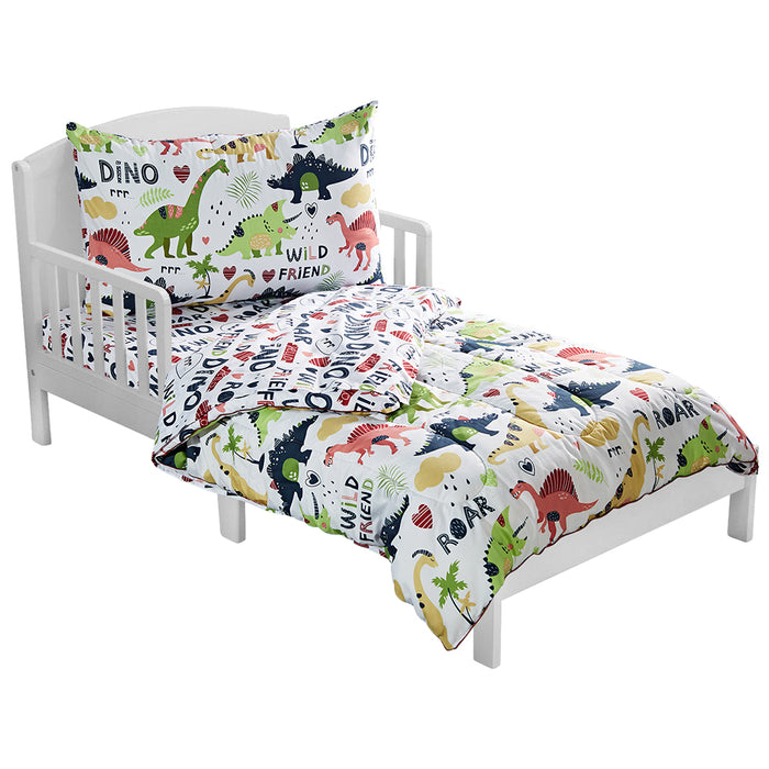 4 Piece Dinosaur Themed Toddler Bedding Set For Boys Girls