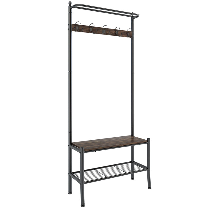 Entryway Coat Rack with Spacious Shoe Bench Features Heavy Duty Metal Frame