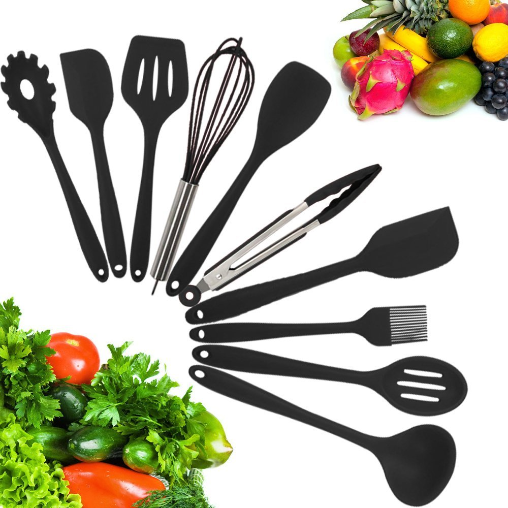 10-Piece Silicone Kitchen Utensil Set Non-Stick Heat-Resistant Cooking Tools