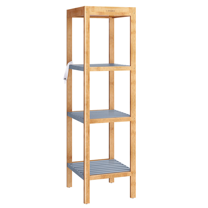 LANGRIA Bamboo Shelf 4-Tier Multi-function Utility Storage Shelving Unit