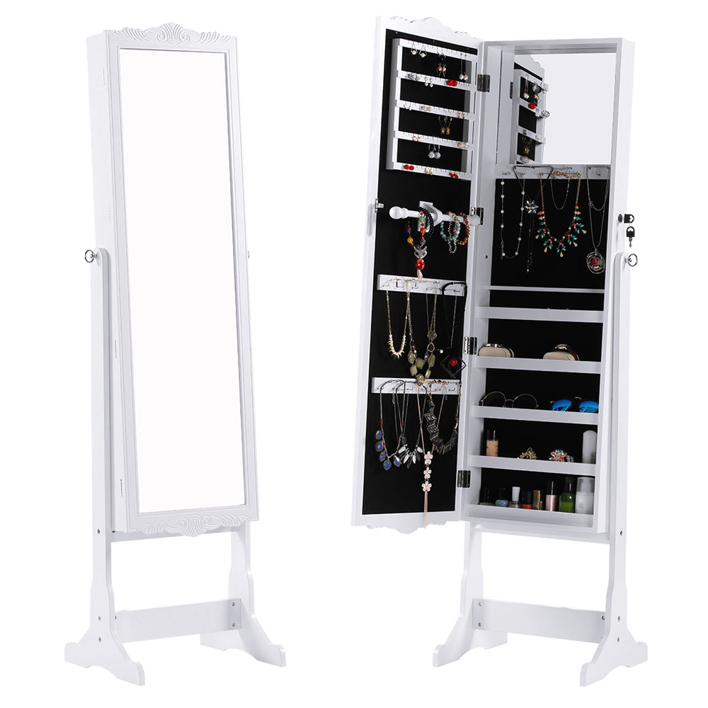 Free-Standing, Full-Length Carved Mirrored Jewelry Cabinet, 5 Shelves, Built-in Inside Mirror, Lockable