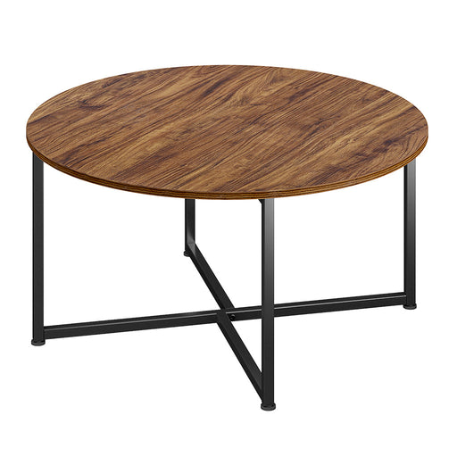 Industrial Round Coffee Table, Vintage Mid-Century Style Wooden Tea Table