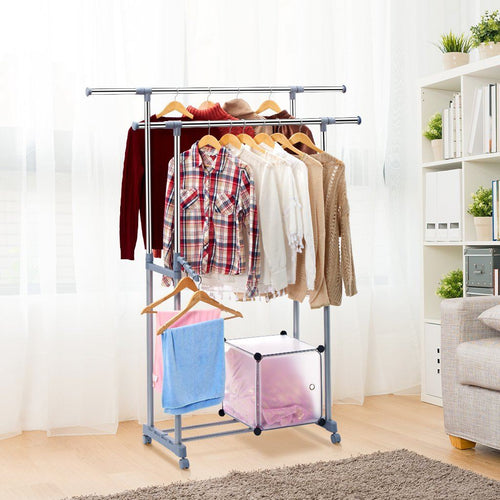 Heavy Duty Steel Double Rail Clothes Storage Garment Rack