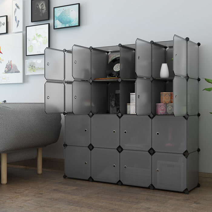 16 Cube Organizer Stackable Plastic Cube Storage Shelves Design Multifunctional Modular Wardrobe Cabinet
