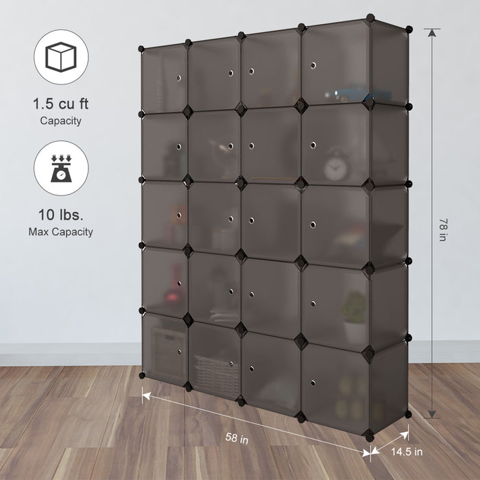 20 Cube Organizer Stackable Plastic Cube Storage Shelves Design Multifunctional Modular Closet Cabinet