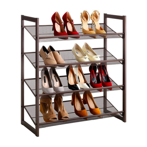 LANGRIA 4-Tier Metal Shoe Rack (Mocha Copper)