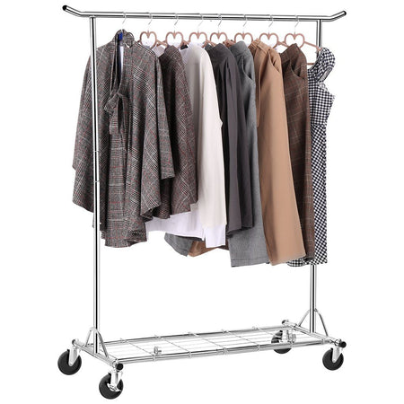 Collapsible Adjustable Single Rail Rolling Garment Rack, Chrome