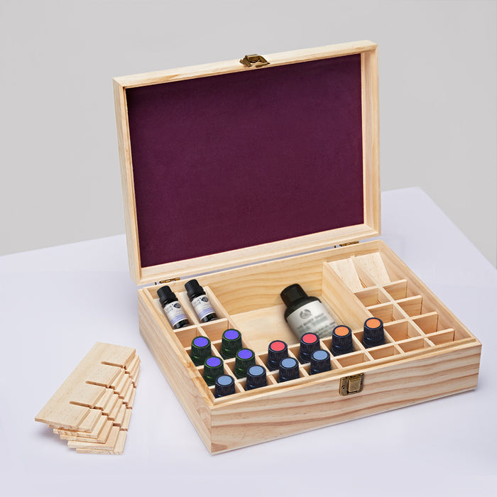 44-Slot Wooden Essential Oil Storage Box