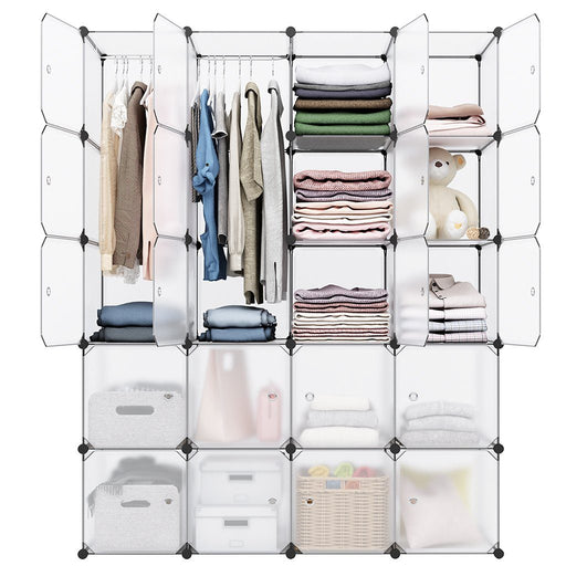 LANGRIA LANGRIA 20 Cube Organizer Stackable Plastic Cube Storage Shelves Design Multifunctional Modular Closet Cabinet with Hanging Rod for Clothes Shoes Toys Bedroom Living Room