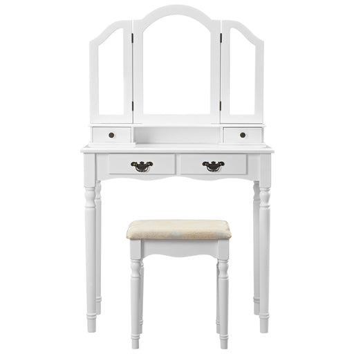 LANGRIA LANGRIA Vanity Makeup and Dressing Table with Tri-Fold Mirror 4 Drawers and Jacquard Floral Stool Set