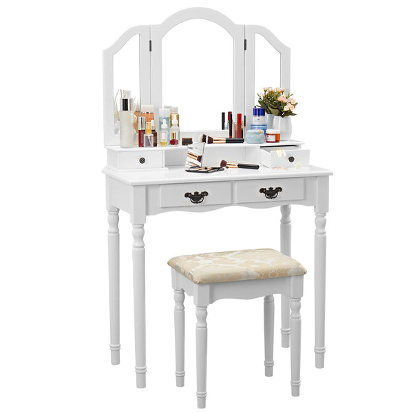 LANGRIA Vanity Makeup and Dressing Table with Tri-Fold Mirror 4 Drawers