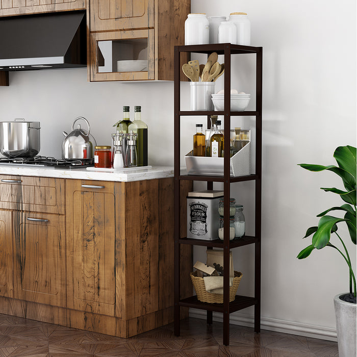 LANGRIA LANGRIA Storage Shelf Unit Stand 100% Bamboo Shelf 5-Tier Free Standing Rack Organization for Kitchen, Bathroom, Living Room 57'' x 13'' x 13'' Dark Brown