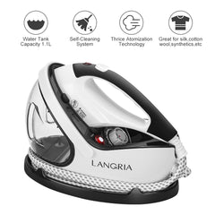 LANGRIA 2 in 1 Garment Steamer Iron and Fabric Brush