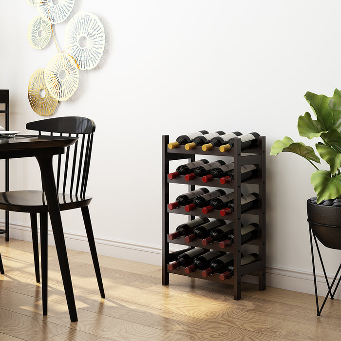 20-Bottle Wine Rack Made of Natural Bamboo Wood with Spacious 5-Tier Free Standing Storage Shelves
