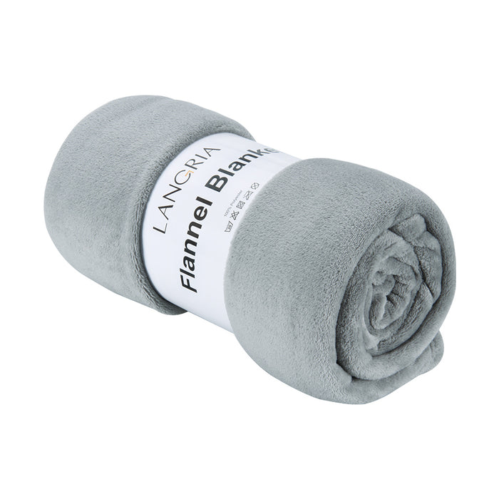 Cozy Flannel Blanket Throw for Adults Kids Home Outdoor Travel, Polyester Microfiber, Wrinkle Resistant, Anti-Fade, 220*240 cm Grey