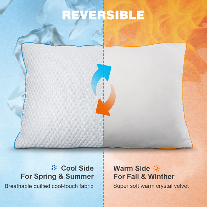 High Performance Cool/Warm Memory Foam Pillow | LANGRIA Dual Sided Pillow