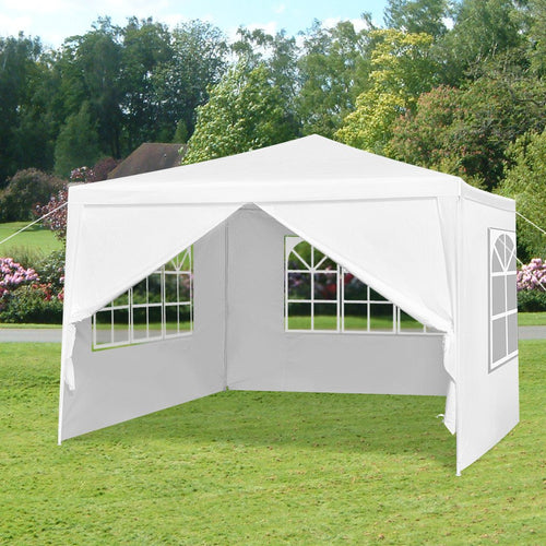 LANGRIA Party Tent with 4 Removable Walls, 9 sq meters, White