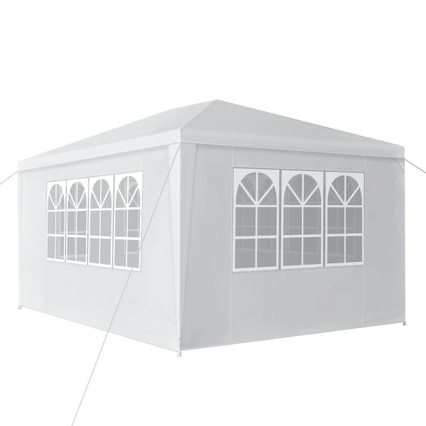 LANGRIA Party Tent with 4 Removable Walls, 12 sq meters, White