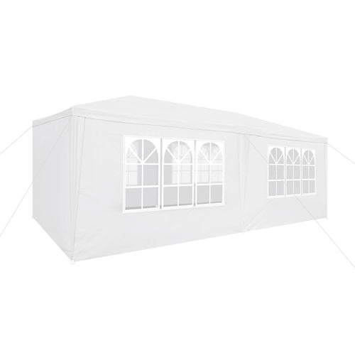 LANGRIA Party Tent with 6 Removable Walls, 18 sq meters, White