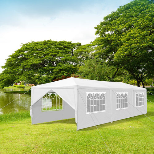 LANGRIA Party Tent with 8 Removable Walls, 27 sq meters, White
