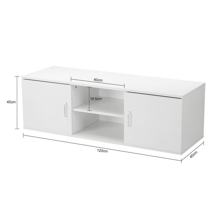 LANGRIA LANGRIA TV Stand with 2 Doors, 2-Tier Open Shelf and Ample Flat Surface, Contemporary Living Room Widescreen Storage System Unit for Living Room, Bedroom or Den (120x40x40cm)