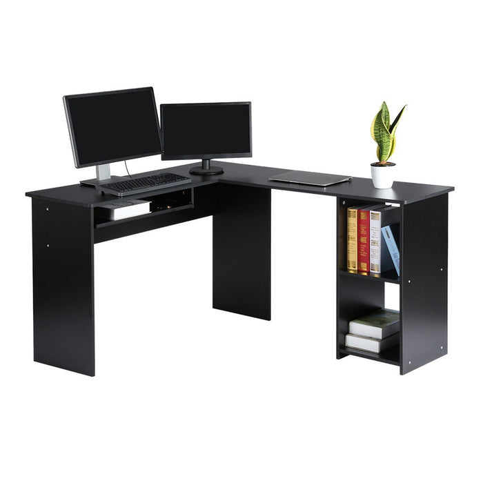 LANGRIA LANGRIA L-Shaped Corner Computer Desk Home Office Work Station with Large and Spacious Wooden Surface Features Sliding Keyboard Tray and Two Bookshelf Cabinets