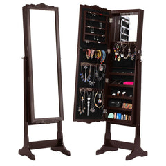 LANGRIA Free Standing Lockable Full Length Mirrored Jewellery Cabinet