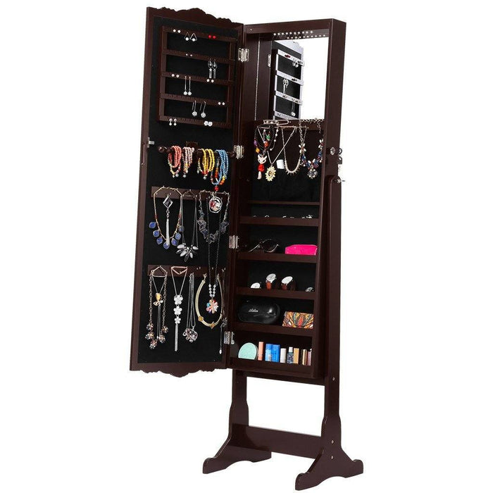 LANGRIA LANGRIA 10 LEDs Jewelry Cabinet Standing Large Mirrored Jewelry Armoire Lockable Holder Organizer with Additional Mirror Inside