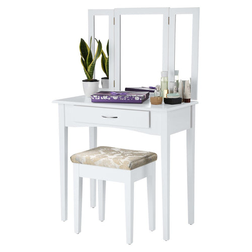 LANGRIA Dressing Table and Stool Set, 1 Drawer, 3 Foldable Mirrors, White