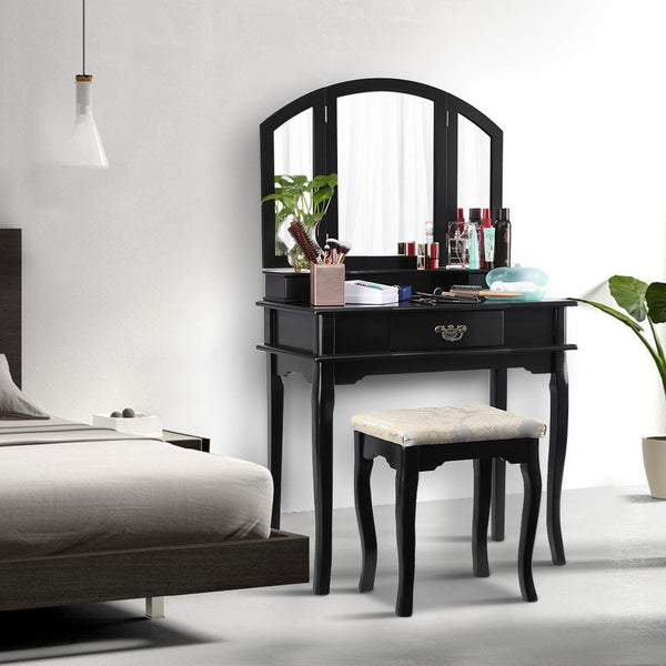 LANGRIA Dressing Table and Stool Set, 3 Drawers, 3 Foldable Mirrors