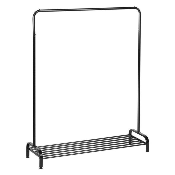 LANGRIA LANGRIA Clothing Garment Rack Heavy Duty Commercial Grade Clothes Stand Rack with Top Rod and Lower Storage Shelf for Boxes Shoes Boots